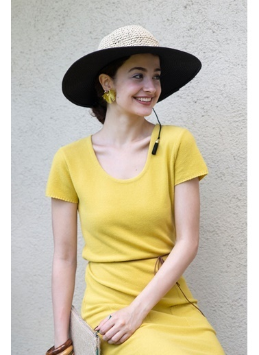 Peraluna Peraluna Hardal Rengi Natur Triko Kadın Elbise Hardal